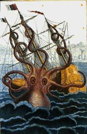 A Kraken and ship are peacefully coexisting for mutual benefit.